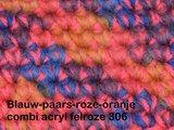Gents-Ladies Slubbers haakpakket Filz uni blauw-paars-roze-oranje combi felroze 100% wol_