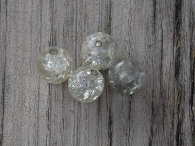Kraal glas blank met glitter 1,3 cm