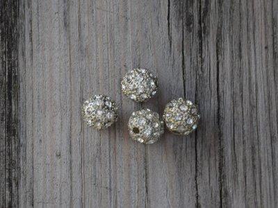 Kraal diamantlook/zilver 1,2 cm