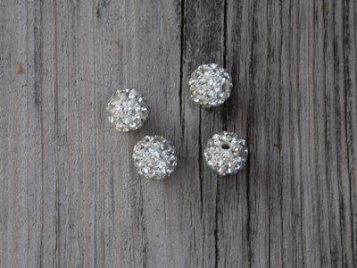 Kraal diamantlook/zilver 1,0 cm