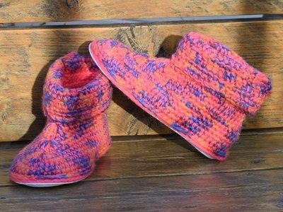 Haakpakket Filz uni blauw-paars-roze-oranje combi felroze 100% wol