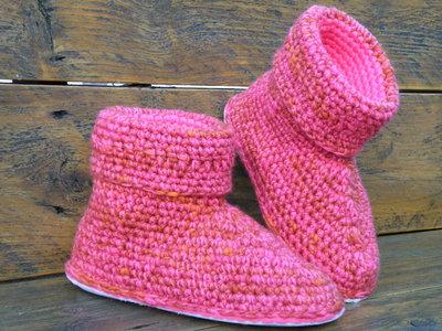 Haakpakket uni Boston oranje-roze 65% acryl/35% wol/combi felroze 100% acryl