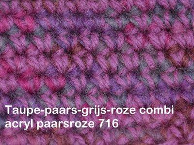 Gents-Ladies Slubbers haakpakket Filz uni paars-roze combi rozepaars 100%wol