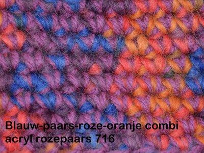 Gents-Ladies Slubbers haakpakket Filz uni blauw-paars-roze-oranje combi rozepaars 100% wol